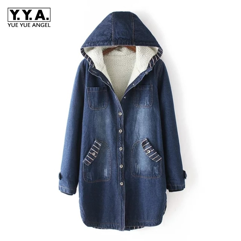 Korea Fashion Hot Selling Long Jean Coat Womens Windbreaker Hooded Loose Fit Warm Lining Blue Overcoat Outwear Pocket Costumes