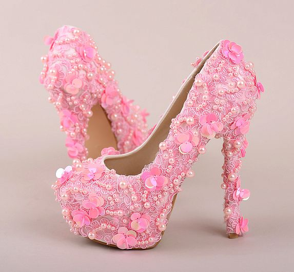 ФОТО 14/12/10CM super high heels PINK lace platforms pumps shoes woman ladies luxury bespoke high quality wedding party shoes TG731