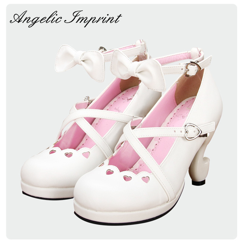 Japanese Sweet Lolita Criss Cross Straps Fantasy High Heels PU Leather Pumps Ankle Strap Bow White Princess Shoes plus criss cross mix