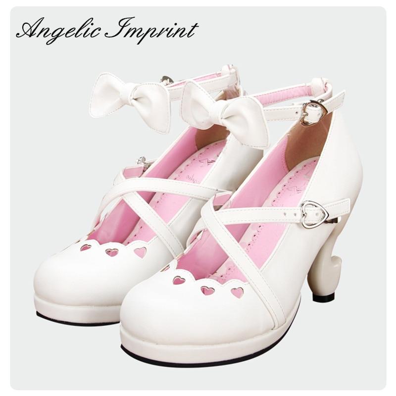 cb9b7cf3e8c Japanese Sweet Lolita Criss Cross Straps Fantasy High Heels PU Leather Pumps  Ankle Strap Bow White Princess Shoes