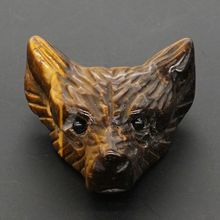 Wolf Head Pendant Natural Stone Gemstone Yellow Tiger Eye Figurine Crystal Carved Necklace Fashion Jewelry 1.4