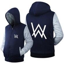 New Fashion Hoodie Coat Alan Faded Jacket Winter Men Thick Zipper Sweatshirts