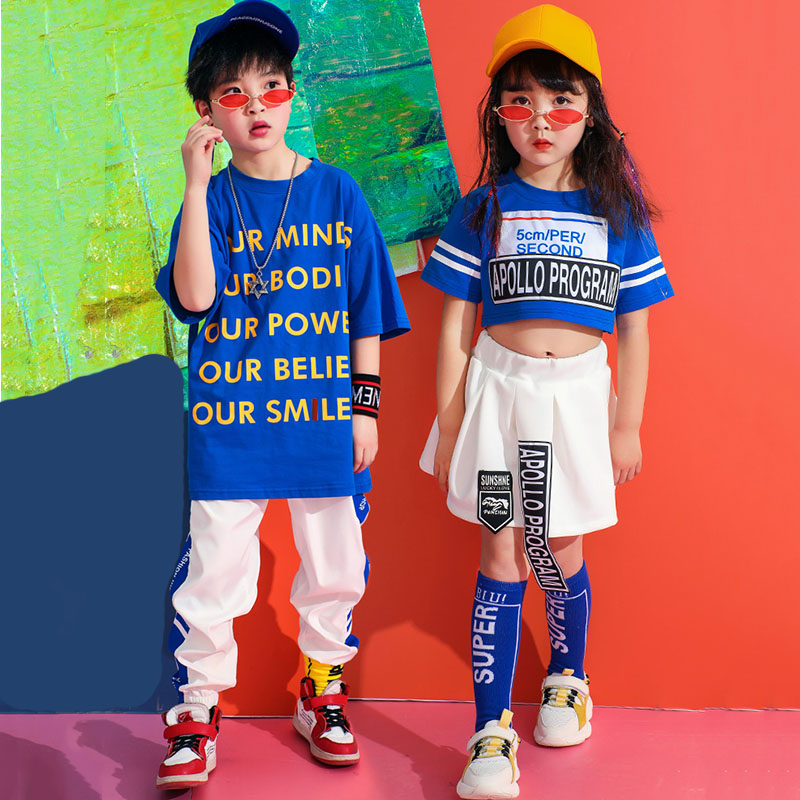 Blue Dance Costume Kids Fashion Printing Jazz Performance Clothing Hiphop Stage Wear Street Dance Practice Rave Outfit DC2181