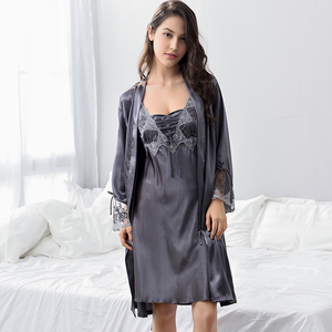 Image 4 - Xifenni Robe Sets Female Sexy Satin Silk Sleepwear Women Lace Embroidery Faux Silk Sleeping Gown Two Piece Bathrobes X9223