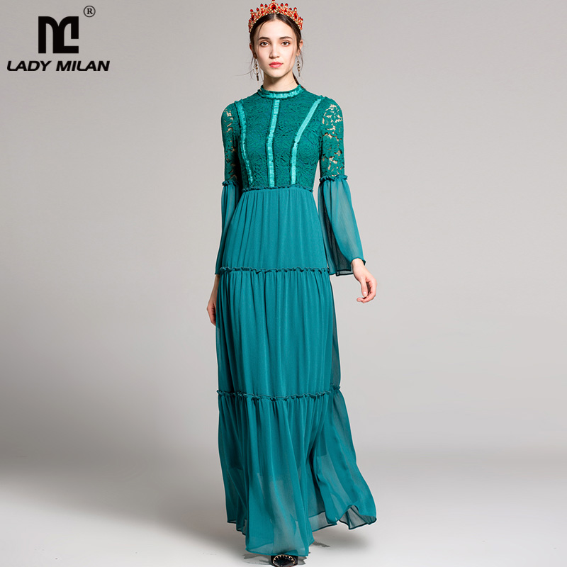 New Arrival 2018 Womens O Neck Long Sleeves Embroidery Lace Bodice Party Prom Patchwork Tiered Ruffles Maxi Long Desinger Dress