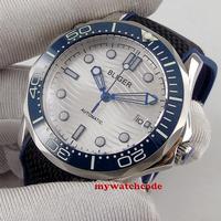 41mm bliger branco dial marcas luminosas azul cerâmica moldura implantação fecho de vidro safira data relógio automático masculino b230