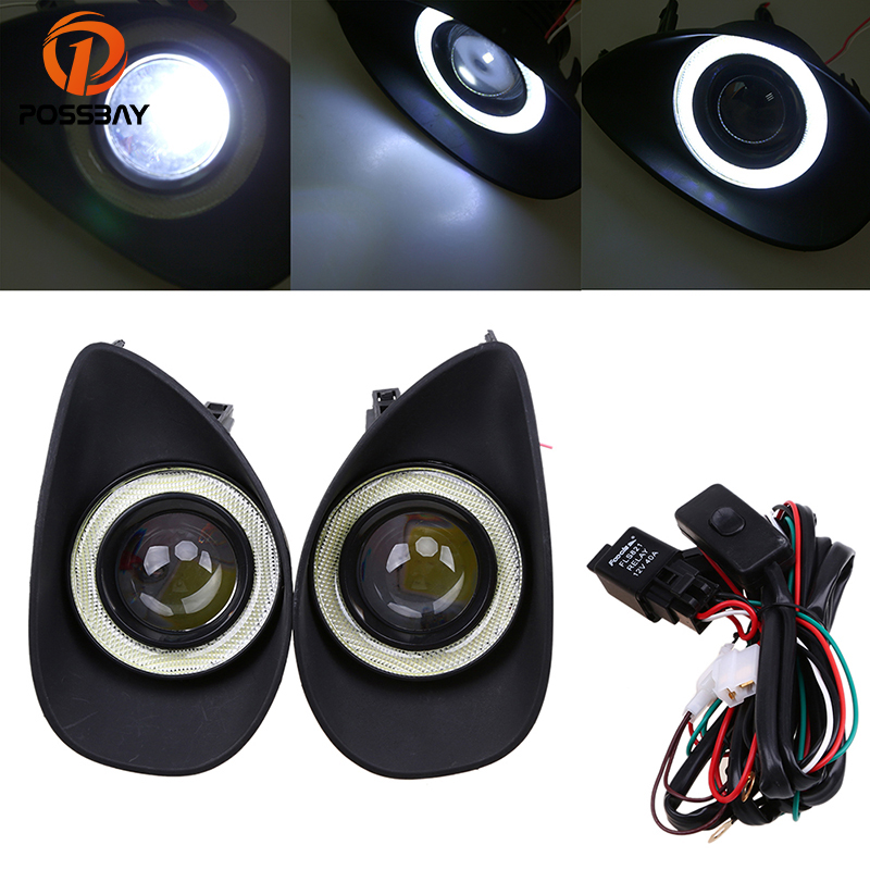 POSSBAY Car Fog Light for Toyota Yaris Hatchback NCP9# 2006-2010 Angel Eyes White Lights Front Light Lamp with Wiring Harness fog lights lamp for toyota yaris senda 2006 belta vios 2007 clear lens pair set wiring kit fog light set