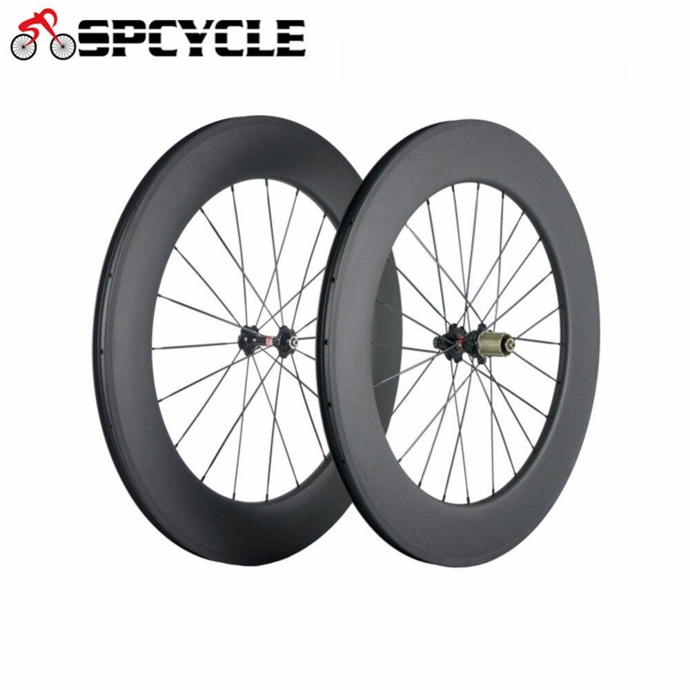 Roues en carbone Ultra légères Spcycle 700C 88mm R36 moyeu en carbone paire de roues tubulaires roue de vélo de route avec peinture OEM