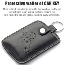 Leather Car Key Cover Case Wallet Holder Shell Bag For Renault Clio Scenic Megane Duster Sandero Captur Twingo Koleos Keychain