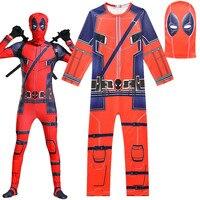 0aa6311e34 Kids Superhero Deadpool Spiderman Boys Movie Character 3D Print Jumpsuits  Mask Cosplay Halloween Carnival Fancy Dress