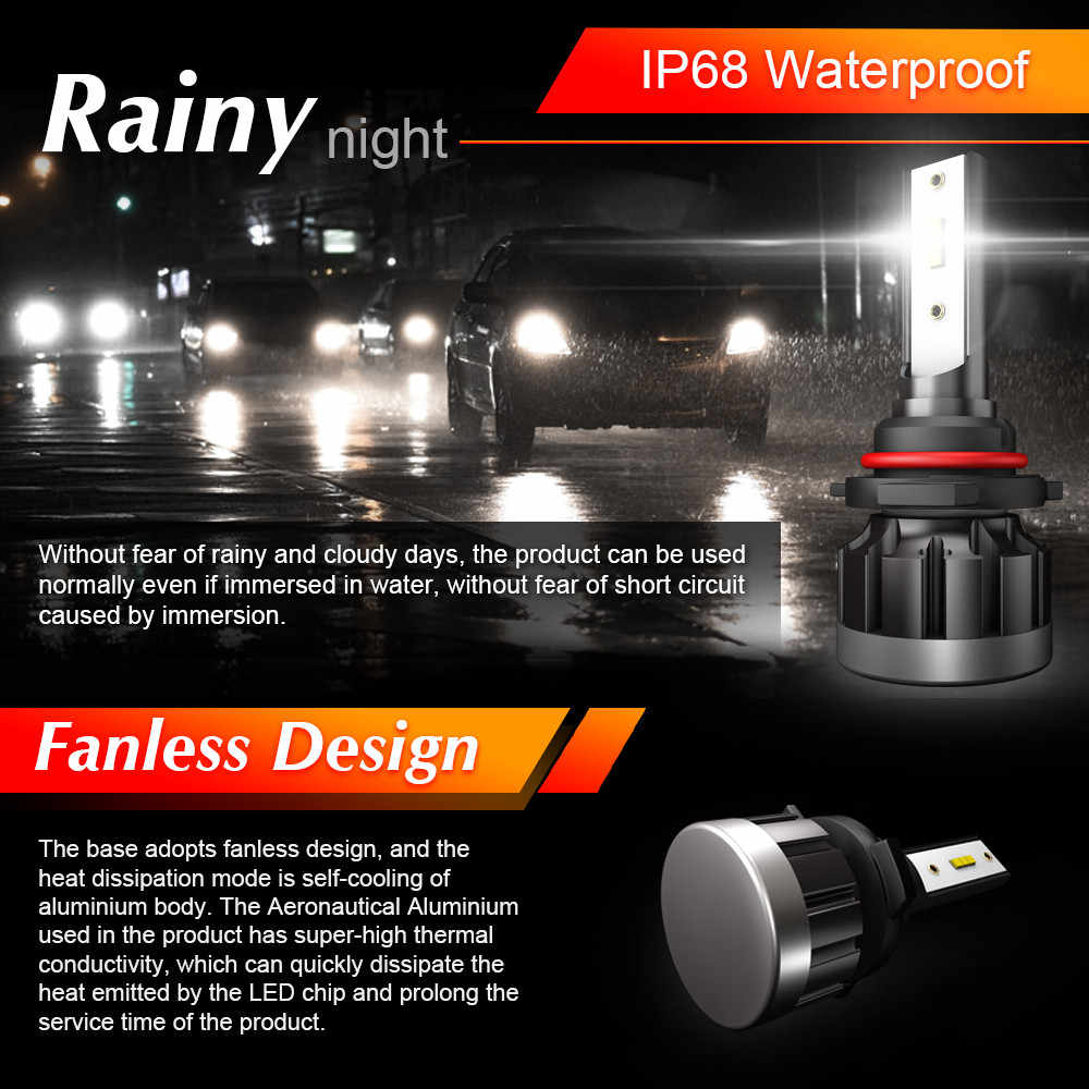 2pcs/lot Car Headlight Bulb H1 H7 LED Auto Lamp H11 Light Assembly 9006 9005 HB3 CSP Chip Headlamp H4 6000K 6000LM