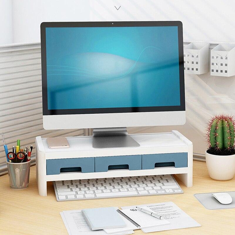 Multi Office Computer Monitor Protect  Heightening Shelf Display Base Bracket Desktop Storage Box Wooden Finishing Rack