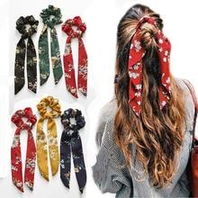 Новая эластичная резинка для волос лента бант шарф сладкий принт резинка для волос женские резиновые веревки для волос аксессуары для волос для девочек