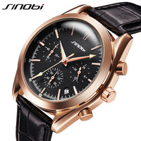 SINOBIทองChronographทหารQuartzนาฬิกาข้อมือผู้ชายกีฬานาฬิกาข้อมือหรูแบรนด์ชั้นนำนาฬิกาชายหนังกันน้ำวั...