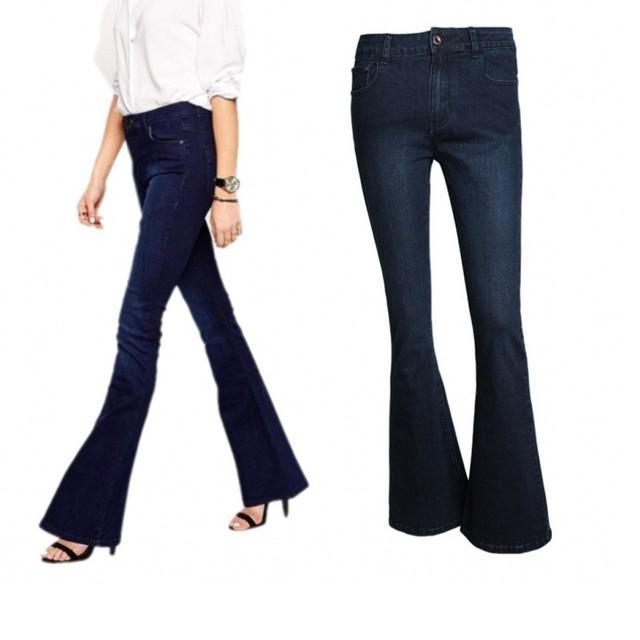 Fahion mulheres de alta qualidade do vintage lavagem de cintura alta skinny jeans longas calças jeans calças flare sino inferior