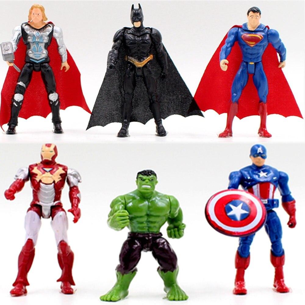 Free shipping 1pcs superhero Avengers Iron Man Hulk Captain America Superman Batman Action gift collection of children's toys