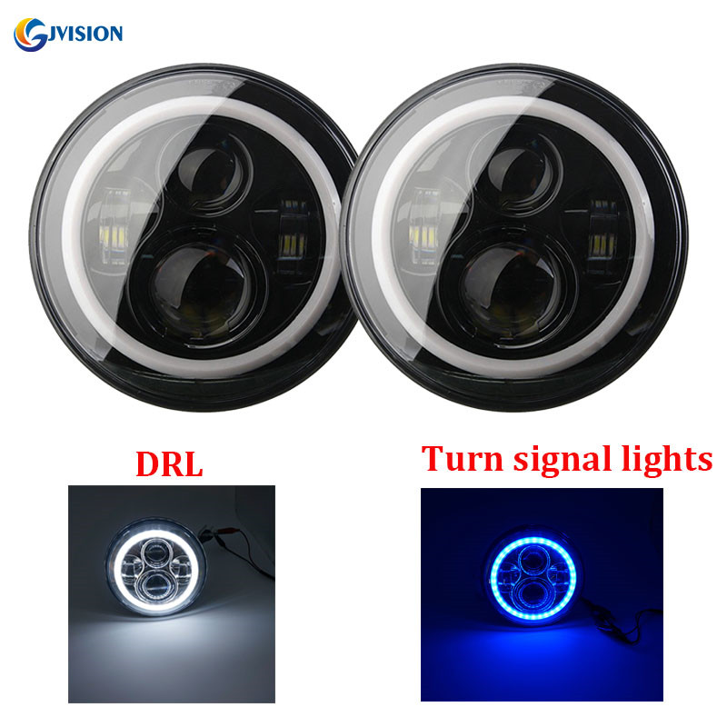 7 inch led headlight H4 High / Low DRL led auto headlamp with White & Blue angel eyes for Jeep Wrangler JK Hummer H1 H2 demon eyes 12v 35w 7 inch cob halo hid xenon led headlight headlamp with demon eyes drl canbus ballast for jeeep wrangler 07 15