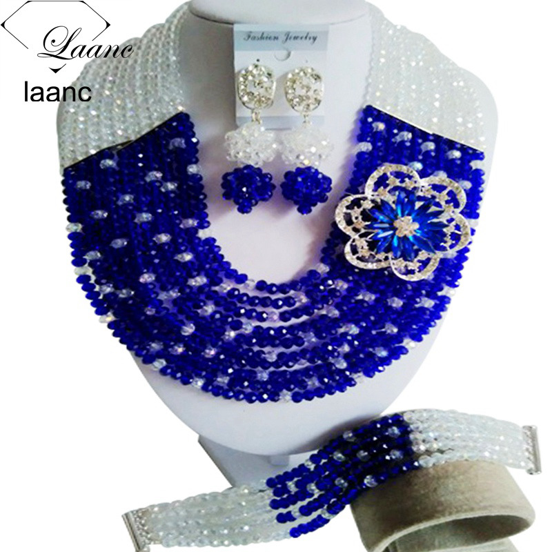 Laanc Transparent Royal Blue Crystal African Beads Necklace Jewelry Set for Women Nigerian Wedding C10SZ064Laanc Transparent Royal Blue Crystal African Beads Necklace Jewelry Set for Women Nigerian Wedding C10SZ064