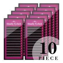 Charming lashes 10pcs mixed length human hair permanent fake eyelashes extensions natural thick false long lash