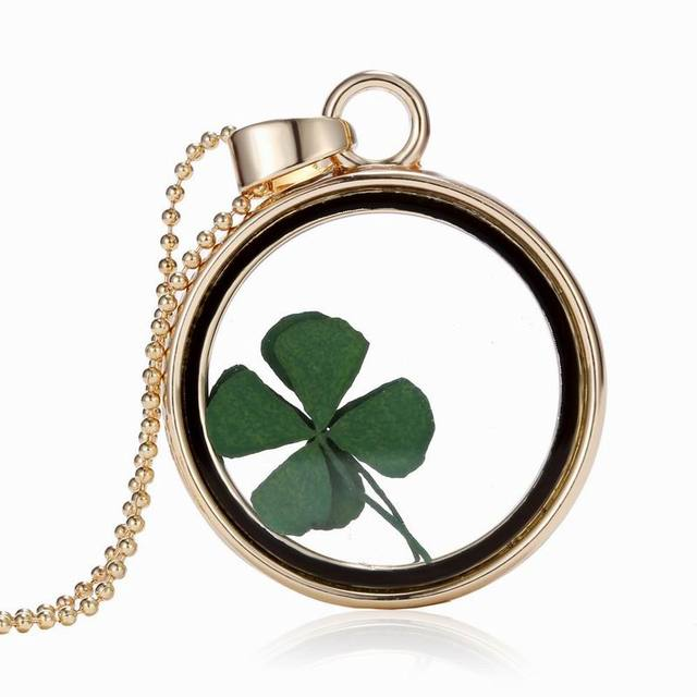 2017 Handmade Glass Necklace Dry Dried Real Four Lucky Leaf Clover Dome Women Summer
