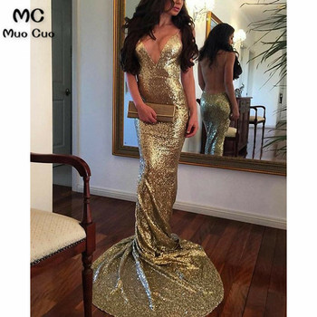 2018 Mermaid Evening Dresses Long with Sequined Spaghetti Straps Backless Prom Dress Sweep Train Formal Evening Dress
