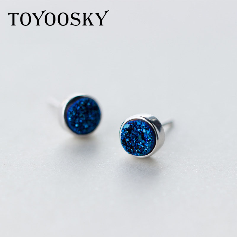 Toyoosky 925 Sterling Silver Crystal Earring Female Round Blue Temperament Ear Studs Geometric Jewelry Brincos