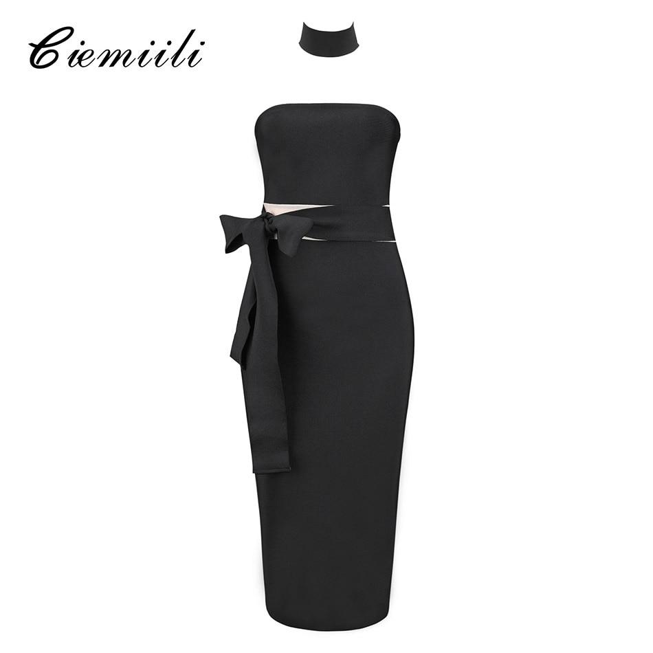 CIEMIILI Sexy Party Dress Women 2018 Summer Black Strapless Night Club Dress Belt Bow Knee Length Sleeveless Bandage Dress