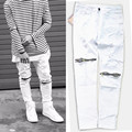 2016 nueva pantalones vaqueros rasgados para hombre desgastados flaco delgado famoso diseñador de la marca biker hip hop swag tyga white vaqueros negros kanye west