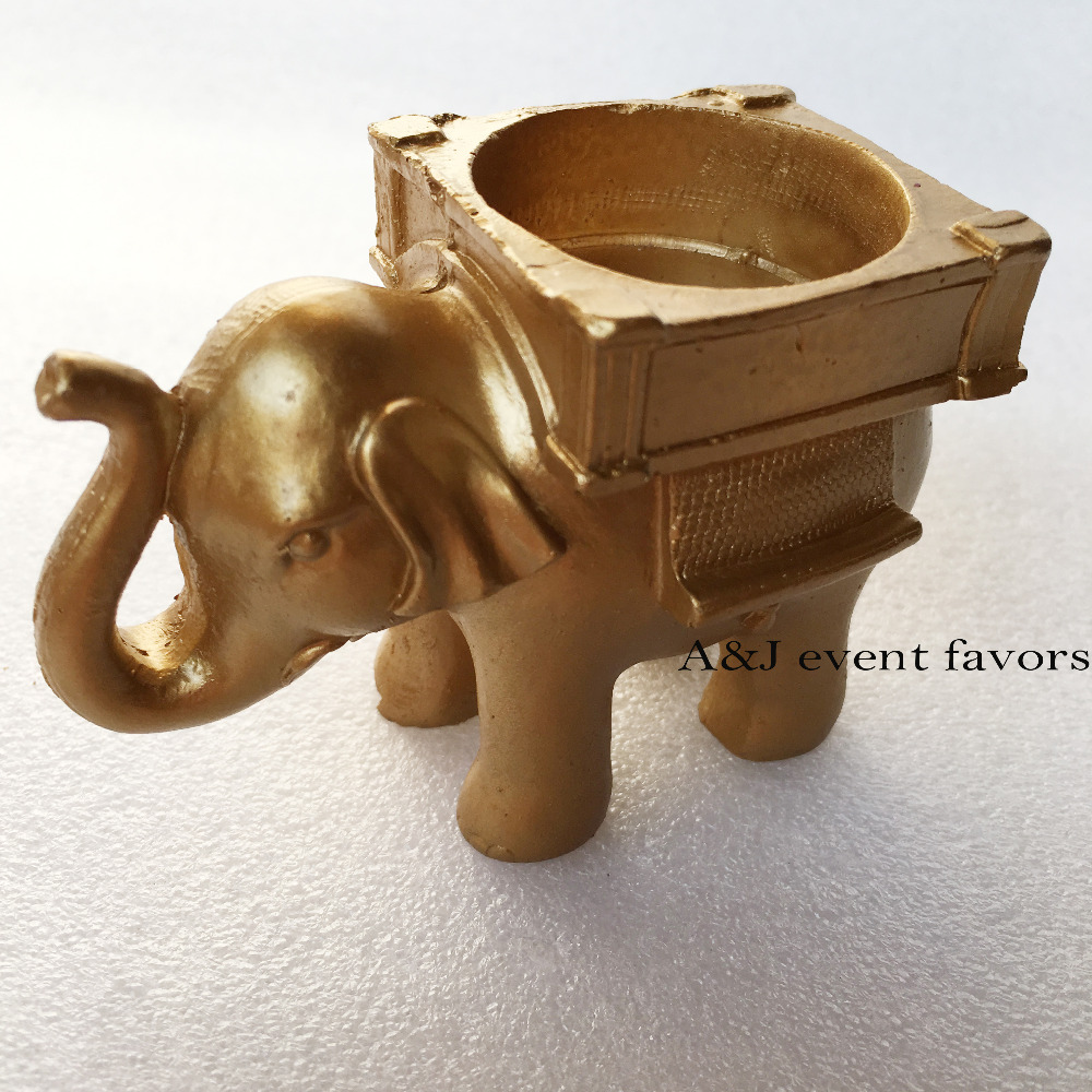 7e03aa1e83646 50pcs lot India Anniversary souvenir 50th 60th Birthday party gifts Golden  Lucky Elephant Candle Holder Indian wedding favors