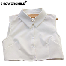SHOWERSMILE White Fake Collar Women Solid Shirt Detachable Removable Elegant Blouse Fashion Ladies Clothes Accessories
