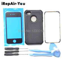 4S Protect Cover Case Replacement+Front Glass Lens+Middle Frame Bezel For iPhone 4S 4 4g Front Back Glass Bezel Frame+Free Tools