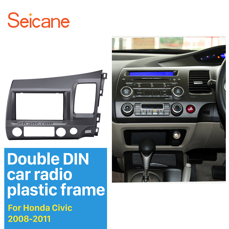 Seicane Classic Gray 2 Din Car Radio Fascia for 2006-2011 Honda Civic RHD Auto stereo Adapter In Dash Mount Kit Frame Panel цены