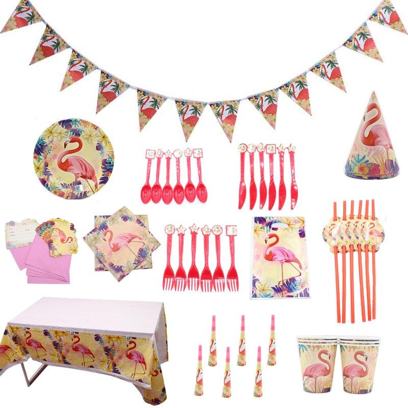 Fashion Cartoon Flamingos Plates Tableware Supplies Wedding Birthday Party Decor