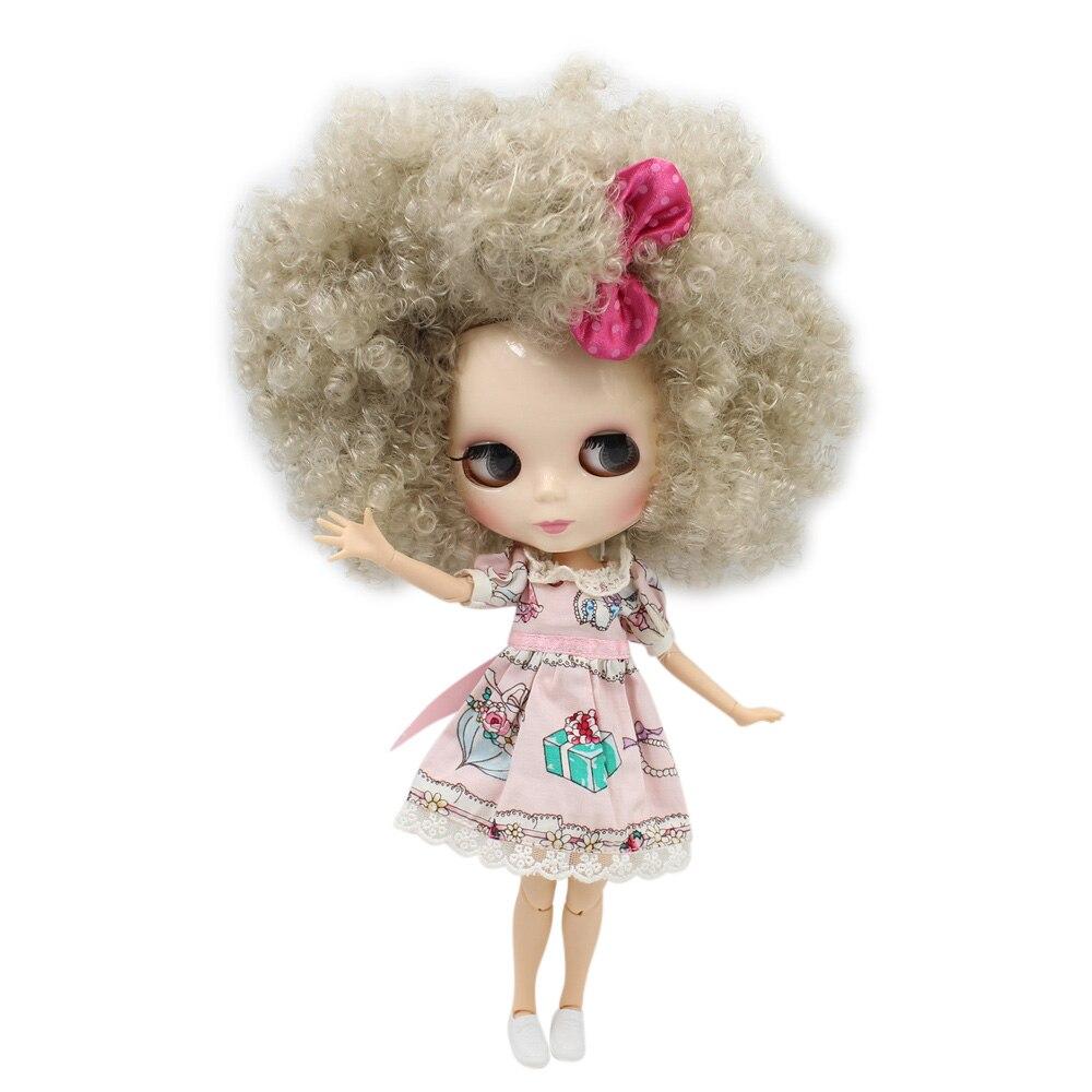 Oyuncaklar ve Hobi Ürünleri'ten Bebekler'de Blyth Doll Ortak Vücut Beyaz Cilt Parlak Yüz Nude BUZLU Licca Gümüş Gri Şampanya Afro Saç bjd oyuncak No. BL3167'da  Grup 1
