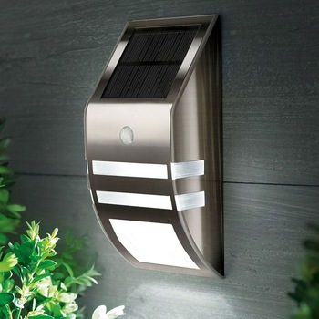 цена на Stainless Steel Waterproof PIR Motion Sensor LED Solar Light Garden Yard Outdoor Wall Lamp Pathway