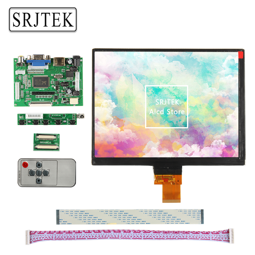 Srjtek 8 LCD Display Screen 1024*768 HJ080IA-01E N818 N818S 32001395-00 Monitor Driver Board 2AV HDMI VGA For Raspberry Pi new original package innolux 8 inch ips high definition lcd screen hj080ia 01e m1 a1 32001395 00
