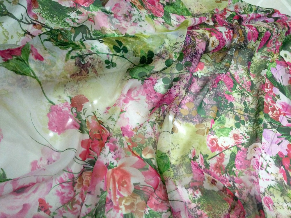 New tissu Pure Natural Mulberry Silk Chiffon Digital Print green/pink Fabric tissus au metre Textile Sew Women Dress Scarf Wide