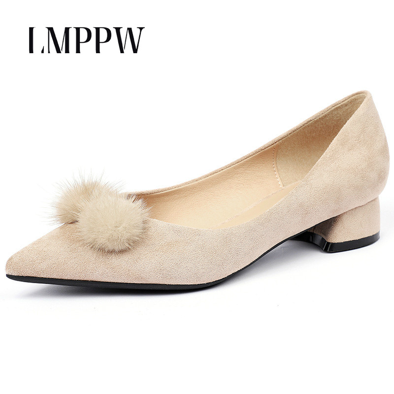 New Women's Shoes Pointed Thick Heel High heeled Shoes Fashion Dress Formal Women Pumps Suede Leather Ladies Shoes Zapatos Mujer