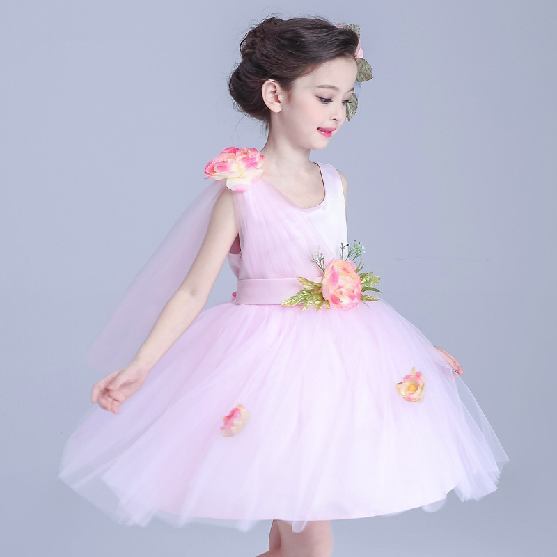 Formal Party Brand Girl's Dress High Quality Fairy Tale Princess Pink Costume Flower Girl Vestidos Gilrs Clothes 2017 AKF164031 brand high quality multi layers formal party girl dress children white princess flower girl vestidos 2016 kids clothes akf164027