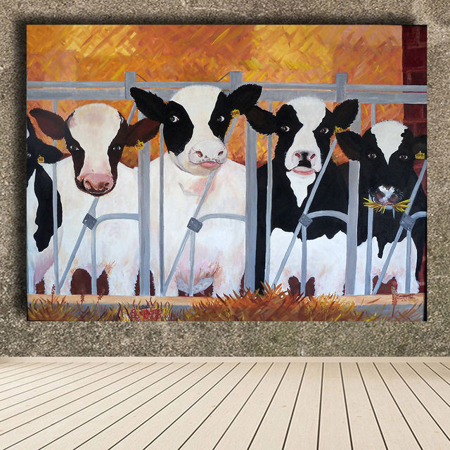QKART Home Decor Canvas Wall Art Funny Cow Oil Painting Canvas Print Wall  Pictures For Living