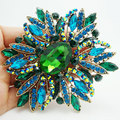 New New Fashion Elegant Flower Gold-plated Large Brooch Pin Green Rhinestone Crystal