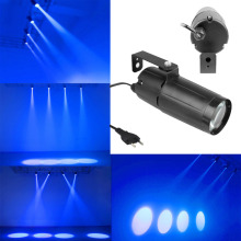 D1U# Portable 3W LED Blue Lighting Beam Spotlight Pinspot DJ Wedding Stage Light with EU Plug