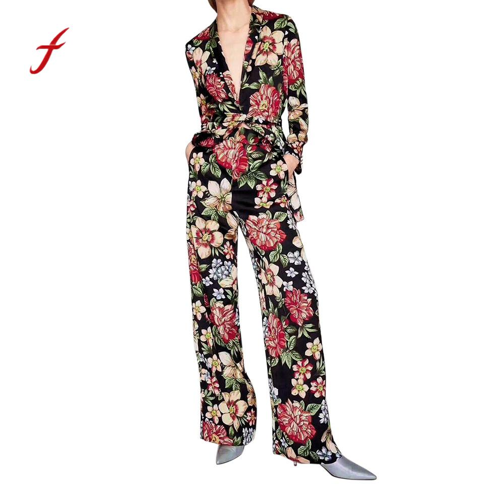 Feitong Spring Summer Women Rompers Floral Print Sexy Deep V Neck Party Trousers Belt Casual Elegant Long Sleeve Trousers