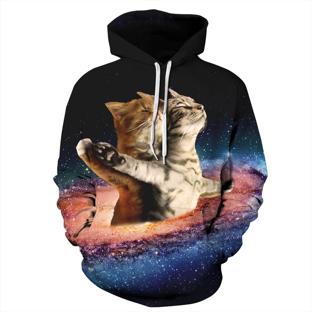 CFYH 2018 Lovers Cats 3d Print Novelty Men/Women Hoodie Autumn Winter Hooded Tops Space Kitty Hoodies Hoody Streetwear