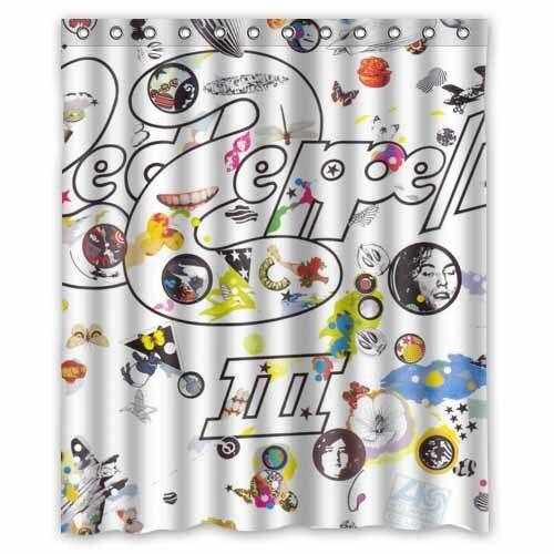 Led Zeppelin Banda De Musica Impreso Poliester Cortina Ducha 60 X 72 Pulgadas