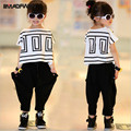 2015 girl summer clothing set kids clothes Bat shirt + Harem pants 2 pieces set fashion print cute sport set free shipping