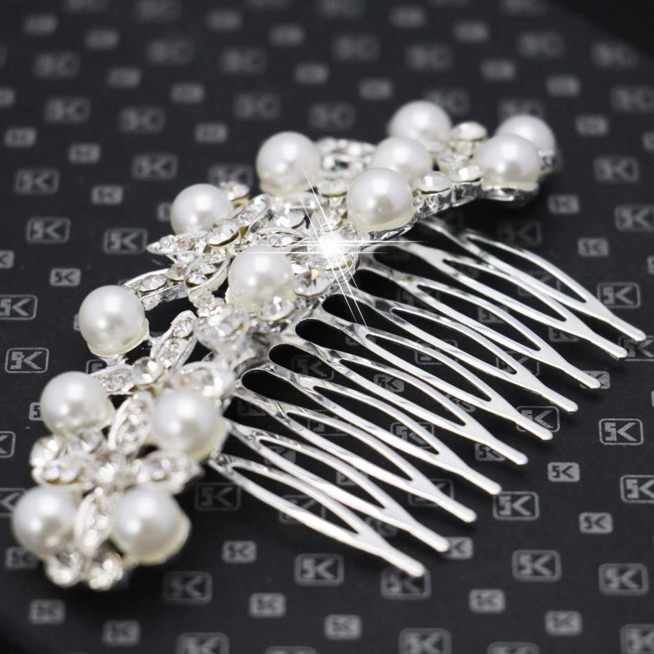 New crystal hairpin hair comb exquisite pearl hair clips for Decoration clips