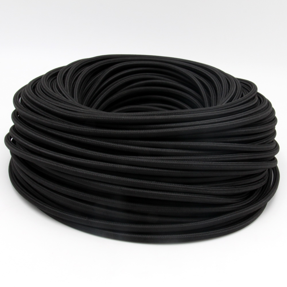 3/x 0,75/mm/² 3/conductores Cable Negro recubierto de tela 1,20/m