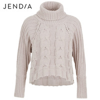 JENDIA Turtleneck Knitted Pullover Sweater Women Fashion Hollow Out Soft Jumper Pull Femme 2018 Autumn Knitting
