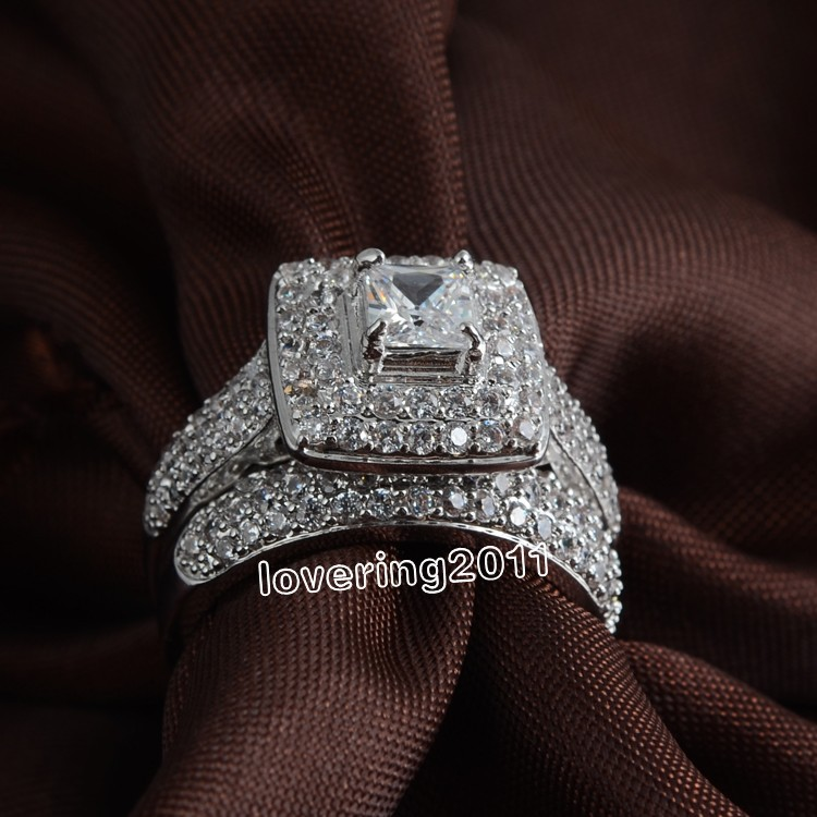 Victoria Wieck Lovers Pave set 134pc simulated diamond cz 14KT White Gold Filled 2 Wedding Ring